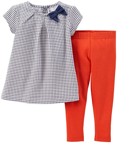 Carter's Baby Girls' 2 Piece Striped Jegging Set (Baby) - Blue/Geo - 3 Months