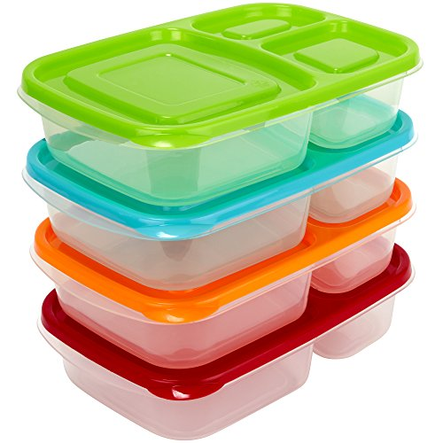 Sunsella Buddy Boxes - 3 Compartment Containers (4 Pack) Reusable Bento Lunch box & Divided Food Storage With Multi Colored Lids (Not Leakproof) (Lunch Containers For Toddlers compare prices)
