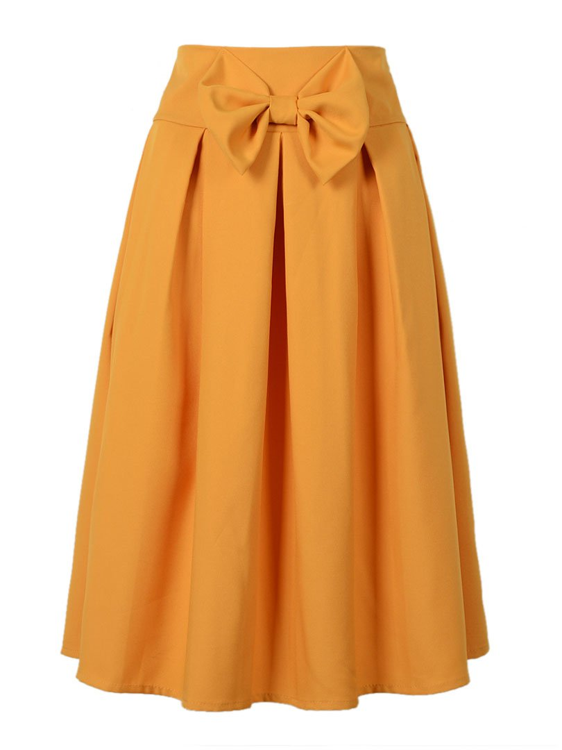 Choies Women's Casual Pleat Bowknot Front Midi Skirt 0