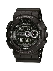 CASIO G-Shock GD-100-1BER - Reloj de caballero de cuarzo, correa de resina color negro (con alarma, luz, cronómetro)