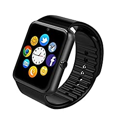 Smart Watch,Soobuy Bluetooth SmartWatch HD Touch Screen Wristwatch Phone With SIM/TF Card Slot Sync to Samsung ,LG,HTC,Sony andiPhone 5s/6/6s 6plus Smartphones (Black)