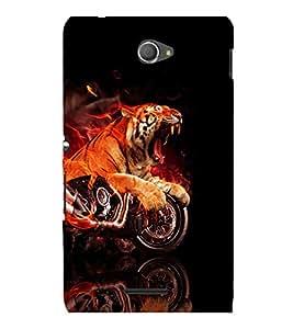 printtech Flaming Tiger Bike Back Case Cover for Sony Xperia E4 Dual::Sony Xperia E4