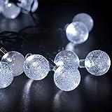 lederTEK Solar Outdoor String Lights 20ft 30 LED White Crystal Ball Solar Powered Globe Fairy Lights for Garden Fence Path Landscape Decoration (30 LED White)
