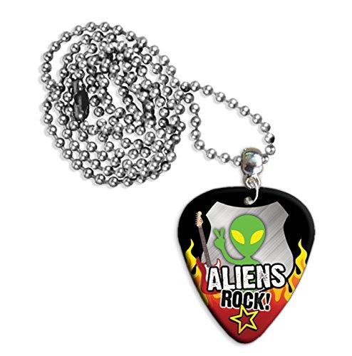 Alien Aliens Rock Guitar Pick Collana Necklace Plectrum Chain (R1)