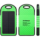 Expower(R) Green Solar Panel Rain Resist shockproof Charger 6000mAh Portable Charger Backup External Battery Power Pack for iPhone 5S 5C 5 4S 4, iPad Air, iPads, iPods and Most Kinds of Android Smart Phones and More Other Devices