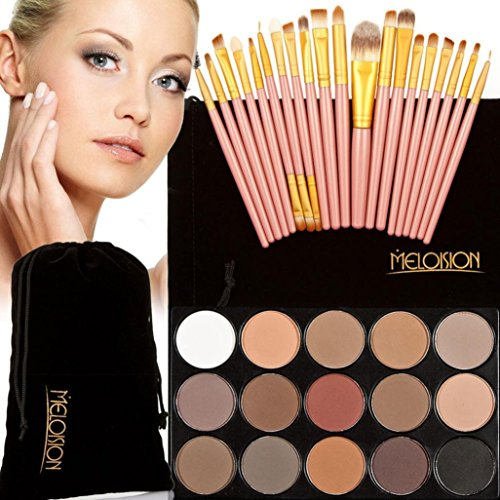 20 PC Makeup Brush Sets (15 Color Eyeshadow + 20 PC Brushes) (Maquillaje Natural compare prices)