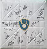 2013 Milwaukee Brewers Team Autographed Logo Full Size Base with 21 Signatures Total! Proof Photos