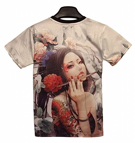 Poj japanese tattoo girl t shirt front and back print l for T shirt design programs for pc