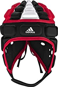 adidas Rugby Head Guard (Black, Radiant Red, White, X-Large)