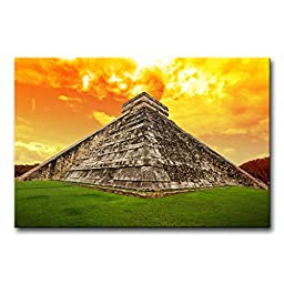 Modern Canvas Painting Wall Art The Picture For Home Decoration Amazing Sky Over Kukulkan Pyramid In Chichen Itza, Mexico Architecture Ruin Print On Canvas Giclee Artwork For Wall Decor