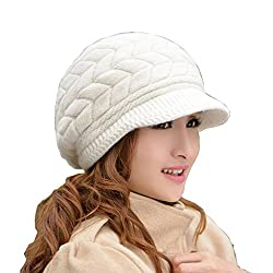 Women's Winter Warm Knit Hat Wool Snow Ski Caps With Visor(White)