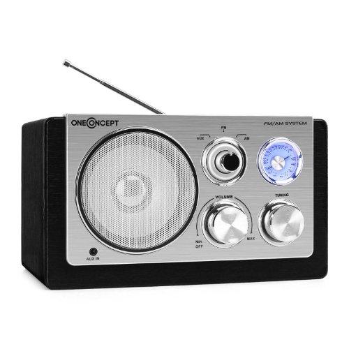 oneConcept Cesena Retro Holz Radio Küchenradio (UKW/MW-Tuner, AUX, Netz-Betrieb) schwarz