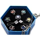 Ws Cos Japanese Katekyo Hitman Reborn! Cosplay Accessory Set Of 7 Vongola Family Gem Rings With Necklace And Dice...