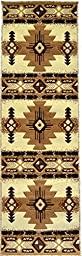 Rugs 4 Less Collection Southwest Native American Indian Runner Area Rug Design R4L 318 Ivory (2\'X7\')