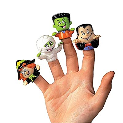 Vinyl Halloween Character Finger Puppets (Witch, Dracula, Ghoul, Frankenstein) from Fun Express
