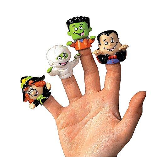 Dozen Vinyl Halloween Character Finger Puppets (Witch, Dracula, Ghoul, Frankenstein) - 1