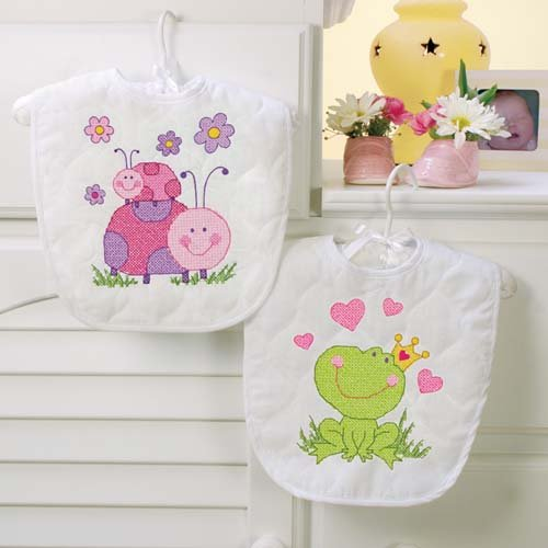 Dimensions Baby Hugs Fairy Bibs Stamped Cross Stitch Kit-9x14