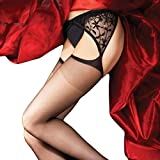 Boudoir Lace Suspender Tights. Classic stockings and suspender hosiery. Black. 3 Sizes