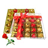 Valentine Chocholik's Luxury Chocolates - Sparkling Collection Of Nicely Wrapped Chocolate Box With Red Rose