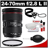 Canon EF 24-70mm f/2.8 L II USM Zoom Lens with Hoya HMC UV Filter + Accessory Kit for EOS 60D, 6D, 7D, 5D Mark II III, Rebel T3, T3i, T4i Digital SLR Cameras