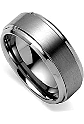 King Will 8mm Polished Beveled Edge/ Matte Brushed Finish Center Men's Tungsten Ring Wedding Band