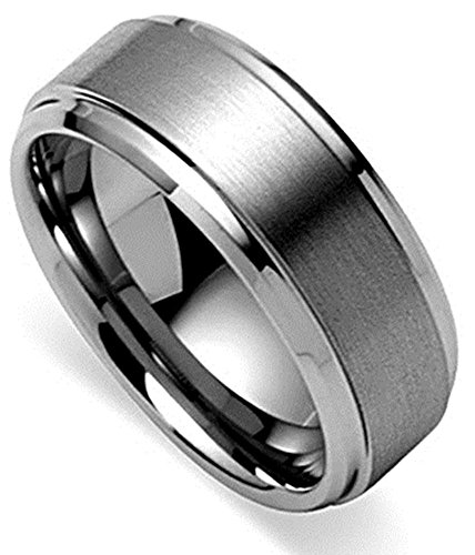 King Will 8mm Polished Beveled Edge/ Matte Brushed Finish Center Men's Tungsten Carbide Ring Wedding Band(10)