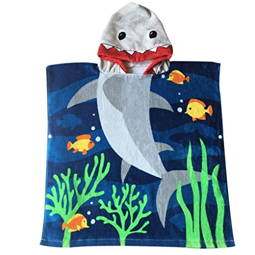 Child 100% Cotton Hooded Towel 24 x 48 inches (Blue Shark) (Towel Clips Shark compare prices)