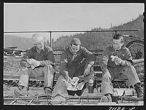 Photo: Workmen eat lunch. Shasta Dam,Shasta County,California
