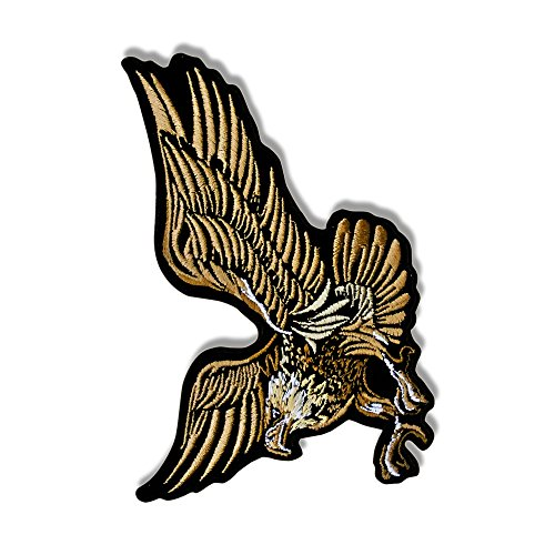 "Hot Leathers, EAGLE IN FLIGHT, Exceptional Quality Iron-On / Saw-On, Heat Sealed Backing Rayon PATCH toppa - 5"" x 4"""
