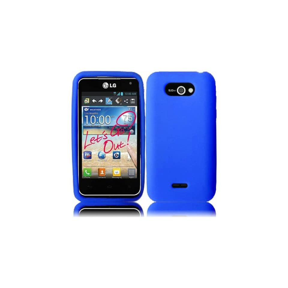 VMG LG Motion 4G MS770 Silicone Skin Case Cover   BLUE Premium 1 Pc Soft Sili Cell Phones & Accessories