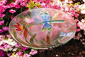 "Dragonfly Glass Bowl Birdbath 18"""