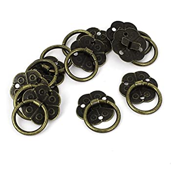 10pcs Home Jewelry Box Cabinet Door Pull Handle Ring Bronze Tone