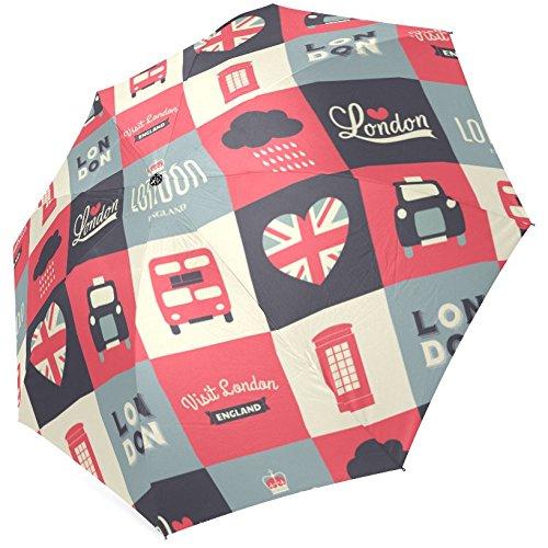 InterestPrint Stylish Retro Vintage Union Jack British Flag Fold Travel Umbrella 0