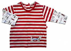 """Plum Collections Designer Baby Boy """"Sausage Dog"""" Striped Long Sleeve Top size 3-6 months - Red Stripe from Plum Collections"""
