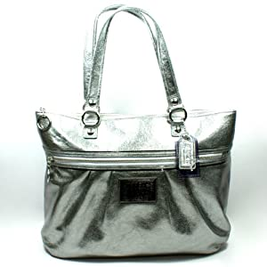 Coach 20361 Poppy Leather Glam Tote Silver