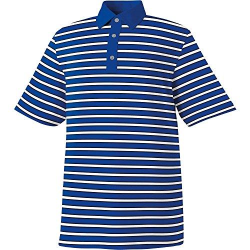FootJoy Men's ProDry Stretch Lisle Multi-Stripe Athletic Fit Golf Polo (Royal/White/Black, X-Large)