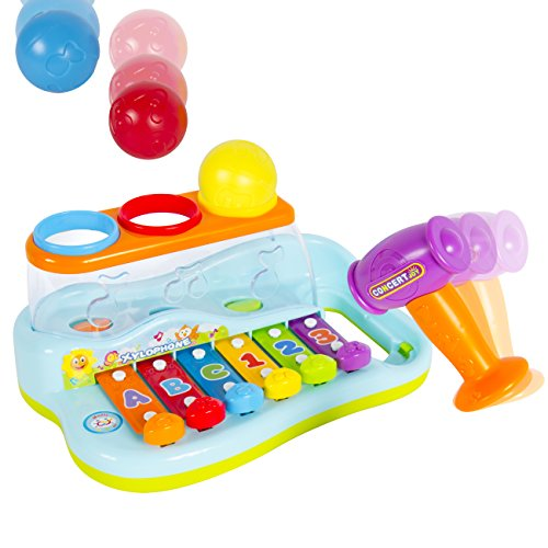 Best-Choice-Products-Kids-Musical-Rainbow-Xylophone-Piano-Pounding-Bench-with-Balls-Hammer
