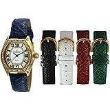 Peugeot Women's 5 Strap Interchangeable Watch Set