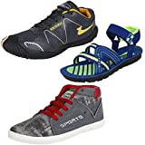 Bersache Men Combo Pack Of 3 Sports Shoes With Casual Shoes & Sandals