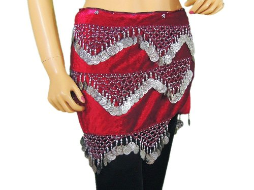 Maroon Velvet Coin Scarf Belly Dancing Wear Trendy Fashion Hip Wrap Clothing