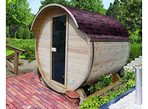 Karibu Fass - Sauna 1 42 mm inkl. 9-kW-Ofen -...