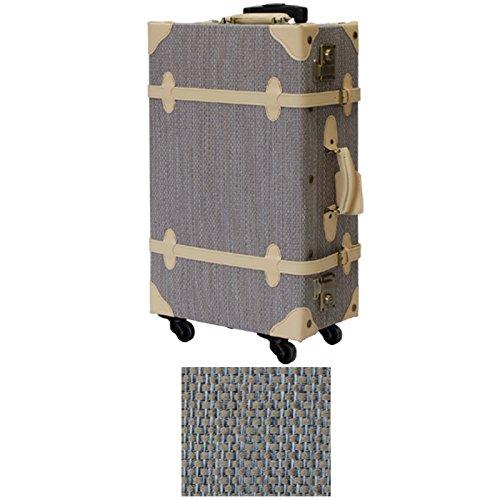MOA モア トラベル スーツケース トランク 48~62cm 3.7~4.5kg 22~34L PVC TSAロック 1~3日用 4CP PVC (M, ライトグレー×ベージュ)