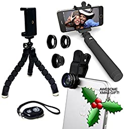 Eye-Pro iPhone Camera Accessories Lens Kit: Fisheye Wide Angle Macro Lenses, Remote Shutter, Selfie Stick, Flexible Tripod & Phone Mount fits iPhone 4 4s 5 5s 6 6s 7 iPad Samsung & Android Smartphones