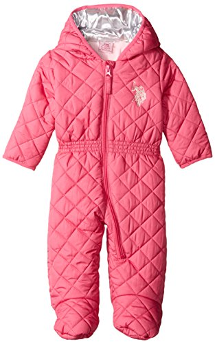 US Polo Association Baby-Girls Diamond Quilt Puffer Pram, Pink Moon, 3-6 Months