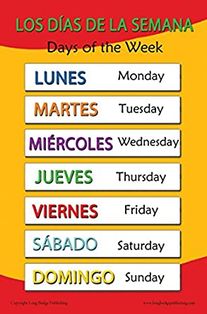 spanish language school poster days of the week wall chart for home and. Black Bedroom Furniture Sets. Home Design Ideas