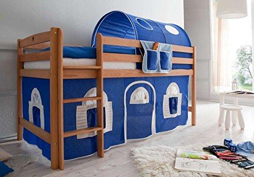 Hochbett Landhaus Farbe (Vorhangstoff): Blau / Weiß
