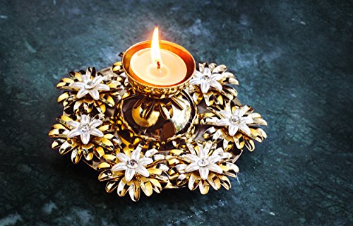 Unique Floral Diwali Diya Oil Lamp Candle Holder Party Decorations (5.5X 2.5 Inches)