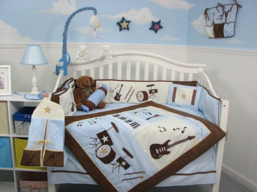 Soho Blue And Brown Rock Band Baby Crib Nursery Bedding Set 13 Pcs Included Diaper Bag With Changing Pad & Bottle Case front-942216