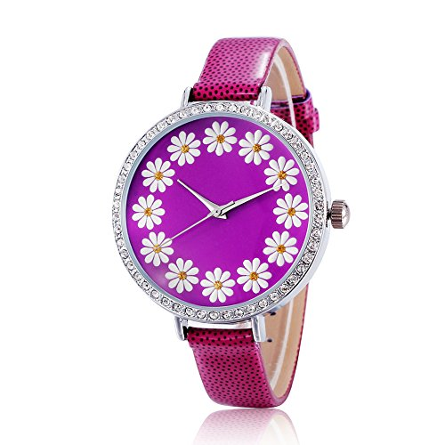 New Arrival Ladies Quartz Wristwatches Brand Leather Watch Women Flower Watch Luxury Brand(Purple)