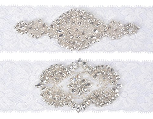 Wishprom Wedding Bridal Lace Garter Set Keepsake Toss Tradition Vintage Rhinestones Garter Belt Set, Ivory